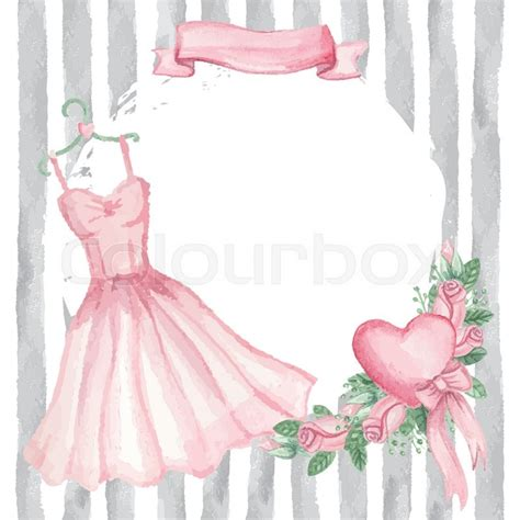 Best Wallpaper Home Decor Cute Retro Card Watercolor Pink Dress On Hanger Roses
