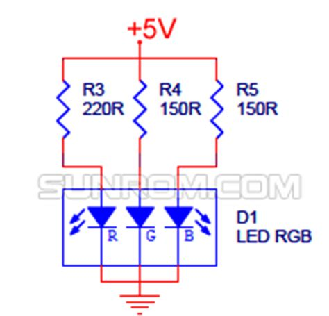 calculate resistor for rgb led rgb led 5mm common cathode diffused 3933 sunrom electronics technologies