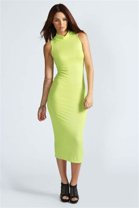 Sleeveless Bodycon Midi Dress boohoo billie high neck sleeveless midi bodycon dress ebay