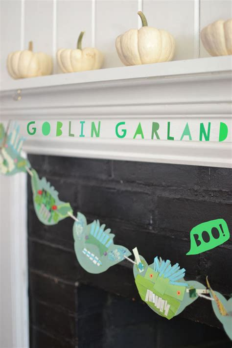 halloween decorations diy recycled materials blog diy goblin garland kids halloween craft collage art
