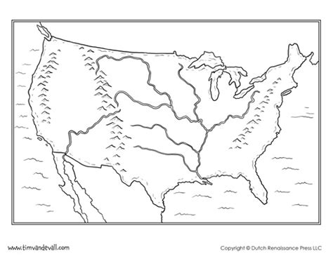 blank us map with mountain ranges and rivers blank map of the united states printable usa map pdf