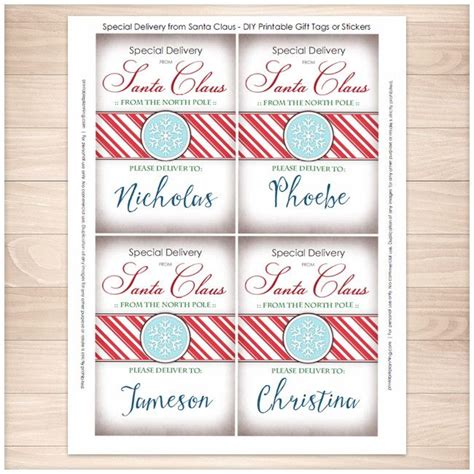 printable santa stickers special delivery from santa claus personalized gift tags