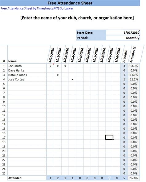 9 attendance sheet templates word excel pdf formats