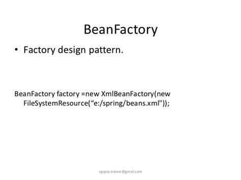 spring factory pattern xml exle java spring framework