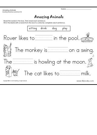 Reading Readiness Worksheets by Amazing Animals Reading Readiness Worksheet 5