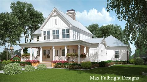 Farmhouse House Plans | 2 story house plan with covered front porch car garage