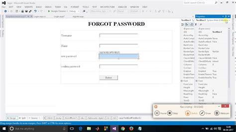 tutorial asp net login asp c tutorial login module part 4 how to do forgot