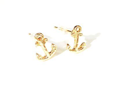 tiny gold anchor earrings 183 white