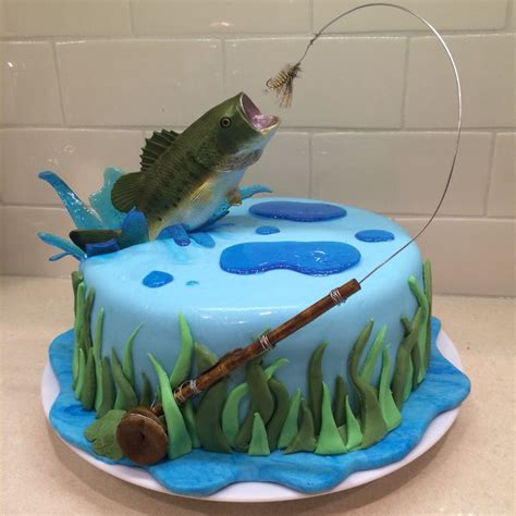 fishing boat cake ideas fly fishing cake for my hubby bass jumping out of water