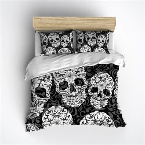 black white and grey sugar skull and scroll duvet bedding
