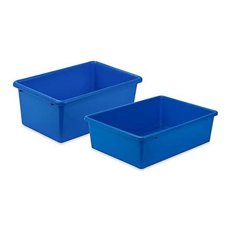 The Bed Storage Bins by Honey Can Do 174 Plastic Storage Bin In Blue Bed Bath Beyond