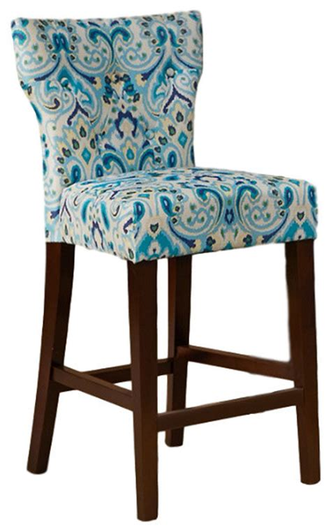 Blue Tufted Bar Stools by Avila Tufted Back Counter Stool Contemporary Bar