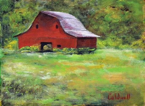 country farm paintings with barn barn in meadow painting by caldwell