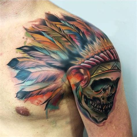indian chief skull tattoo indian skull on shoulder best ideas gallery