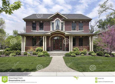 Home Plans Wrap Around Porch brick home with white columns stock photo image 46487006