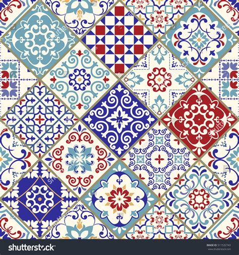 seamless vintage pattern colorful patchwork turkish stock