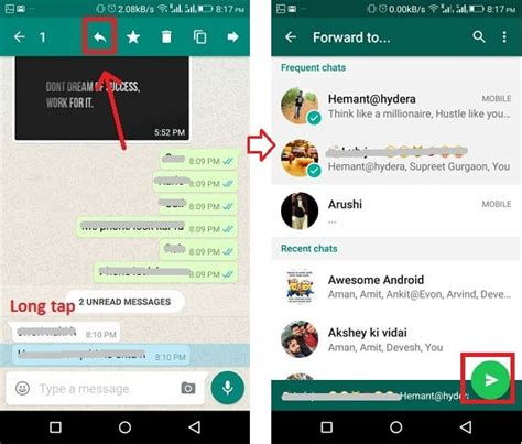 forward text messages android how to forward whatsapp messages to contacts and groups