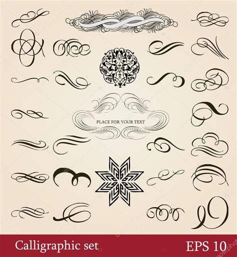 Calligraphic Design Elements And Page Decoration Vector Set | vector set calligraphic design elements and page