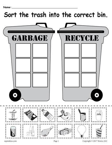 kindergarten activities recycling sorting trash earth day recycling worksheets 4 free