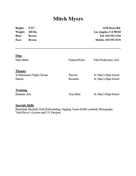 Theatre Resume Template Word by 10 Acting Resume Templates Free Word Pdf