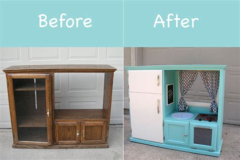 Kitchen Cabinet Recycling Center before amp after turn an old cabinet into a kid s kitchen