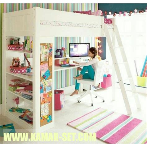 tempat tidur loft bed minimalis anak perempuan kamar set