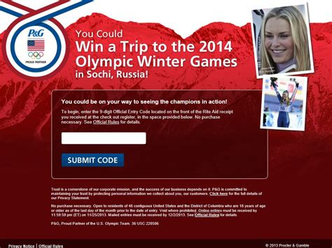 P G Sweepstakes - p g sochi sweepstakes code required