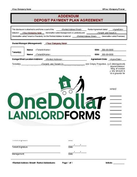 does section 8 pay security deposit b05 addendum deposit payment plan onedollarlandlordforms