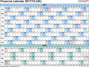 financial year calendar template financial calendars 2017 18 uk in pdf format