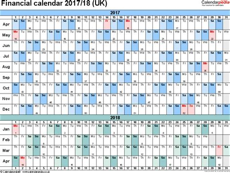Calendar 2017 And 2018 Uk Financial Calendars 2017 18 Uk In Pdf Format