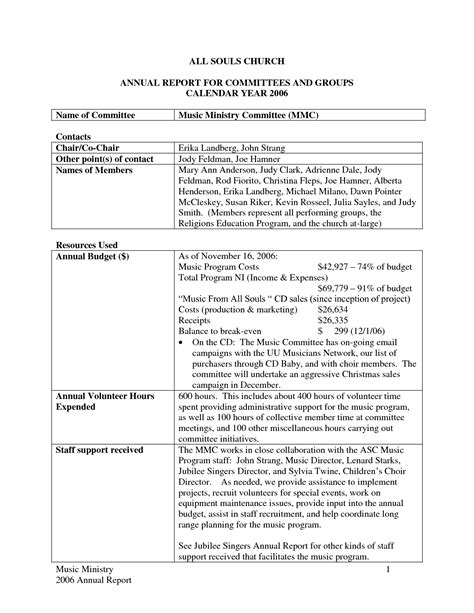 church report template best photos of church monthly financial report exle