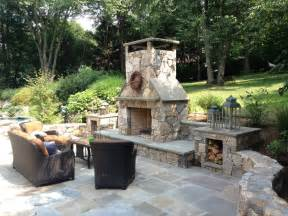 oklahoma city outdoor fireplace with patio traditional
