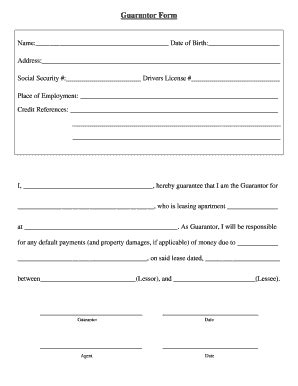 guarantor form template for drivers fill online