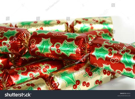 christmas bon bons on a white background stock photo