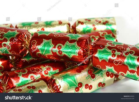 christmas bon bons on a white background stock photo