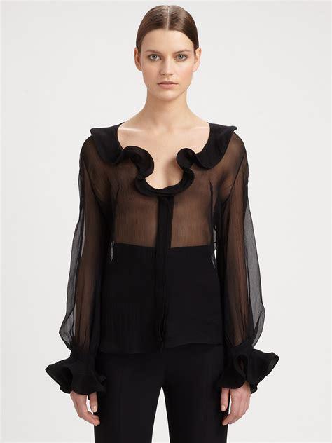 Blouse Ruffle mcqueen silk ruffle front blouse in black lyst