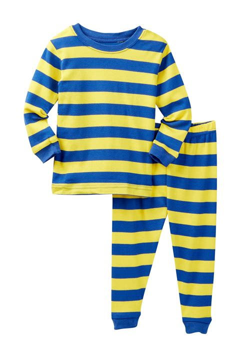 leveret royal blue yellow striped pajama set baby