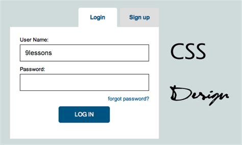page layout design using css tab style login and signup with css