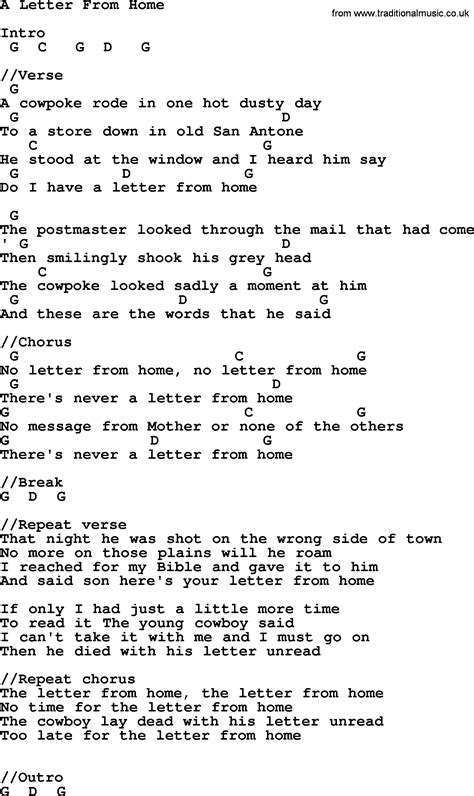 johnny song a letter from home lyrics and chords