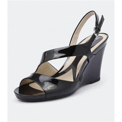 black sandals bandelle black patent wedge sandal