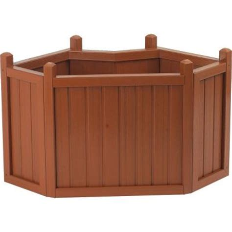 Home Depot Small Wood Box Cal Designs 34 In Redwood Corner Planter Discontinued