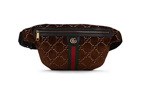 gucci gg pattern brown velvet belt bag release hypebeast