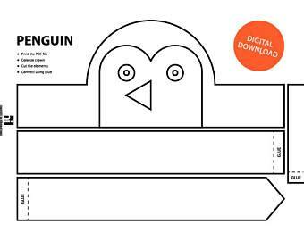 printable penguin face mask template penguin template etsy