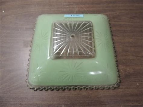 vintage 1930s mint green glass ceiling light shade