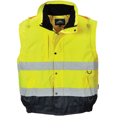 portwest hi vis 2 in1 bomber jacket waterproof safetec