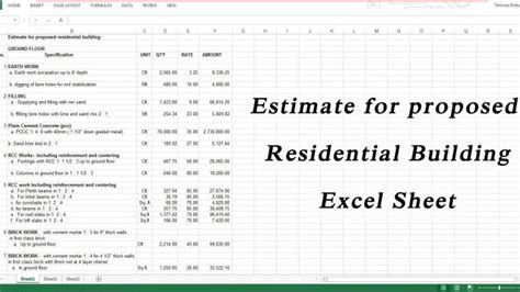 building materials cost estimate sheet engineering feed estimate for proposed residential building engineering feed