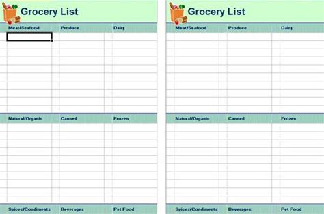 grocery list template word customizable grocery list template related keywords