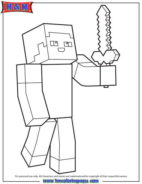 mindcraft coloring pages minecraft person holding sword coloring page h m