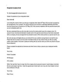Acceptance Of Resignation Letter Notice Period 42 Sle Resignation Letter Template Free Premium Templates