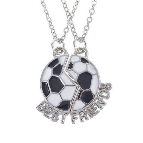 Broken Best Necklace Kalung Pasangan Silver 1 antique silver football best friends forever broken 2 necklace set bff necklace in